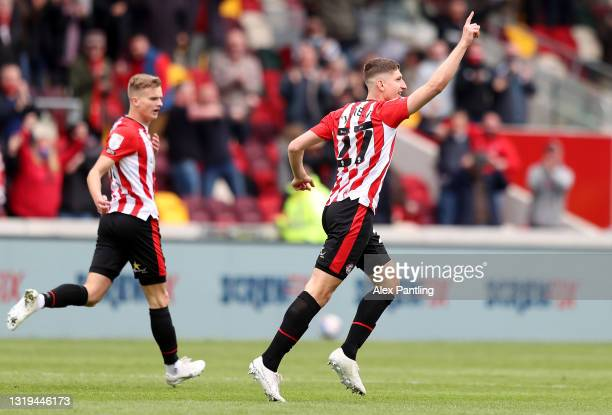 Vitaly Janelt of Brentford celebrates after scoring their side's second goal during the Sky Bet Championship Play-off Semi Final 2nd Leg match...