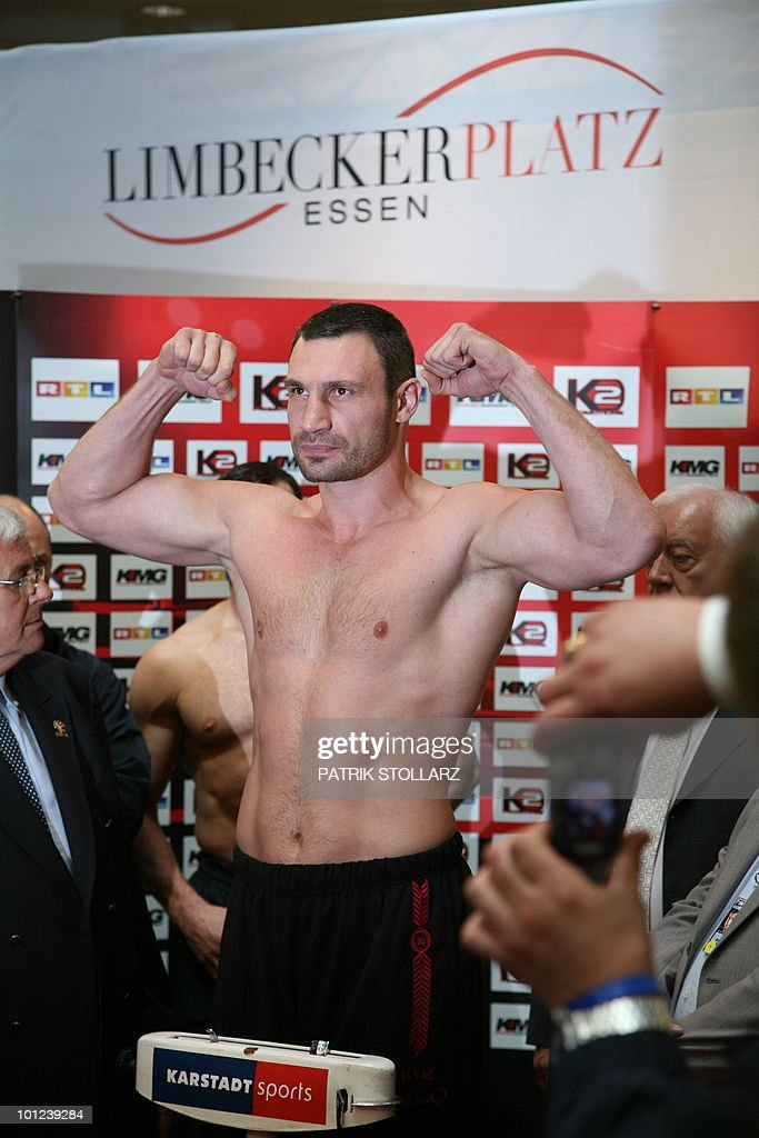 Vitaly Klitschko of the Ukraine poses during a public weighing on May 28, 2010 in Essen, western Germany, one day before his WBC Heavyweight title fight against Poland's Albert Sosnowski in Gelsenkirchen.