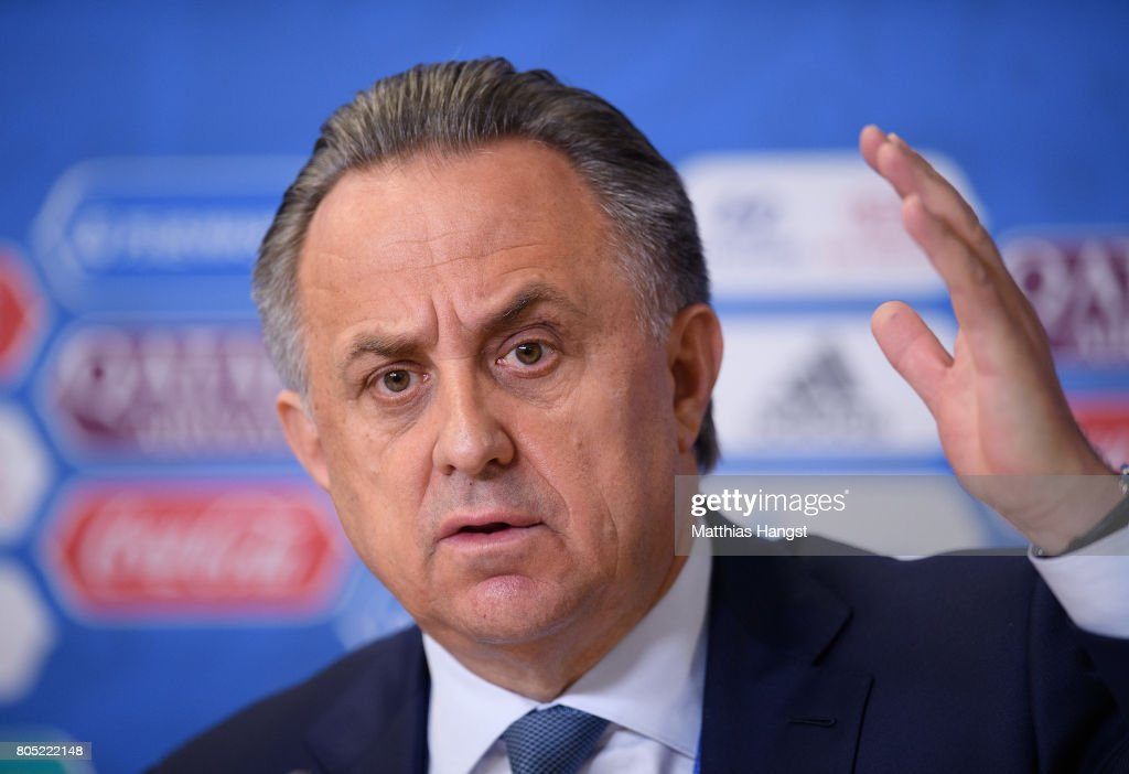 Vitaly Mutko, Russian Deputy Prime Minister and LOC Chairman, speaks to the media during the Closing Press Conference of the FIFA Confederations Cup Russia 2017 on July 1, 2017 in Saint Petersburg, Russia.