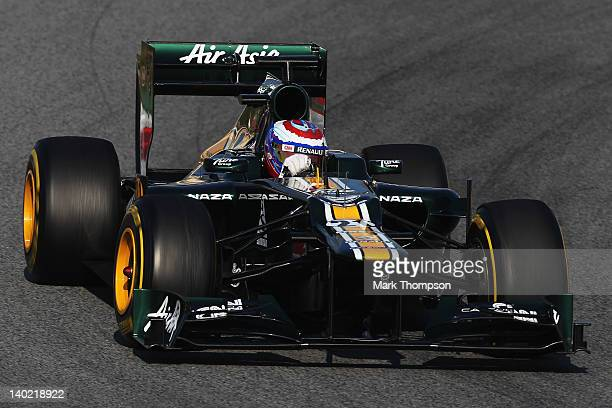 Vitaly Petrov of Russia and Caterham drives during day one of Formula One winter testing at the Circuit de Catalunya on March 1, 2012 in Barcelona,...