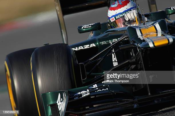 Vitaly Petrov of Russia and Caterham in action during day three of Formula One winter testing at Circuit de Catalunya on February 23, 2012 in...