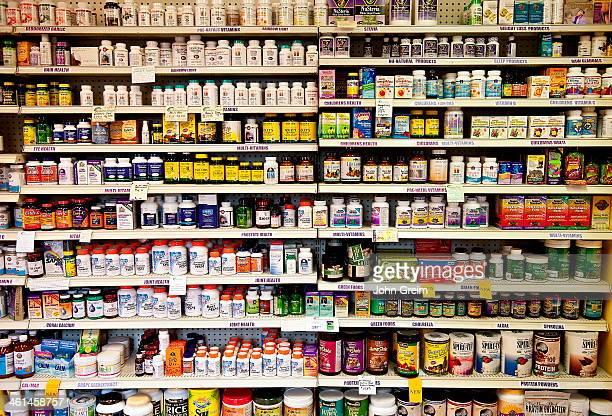 Vitamin shelf of a health food store