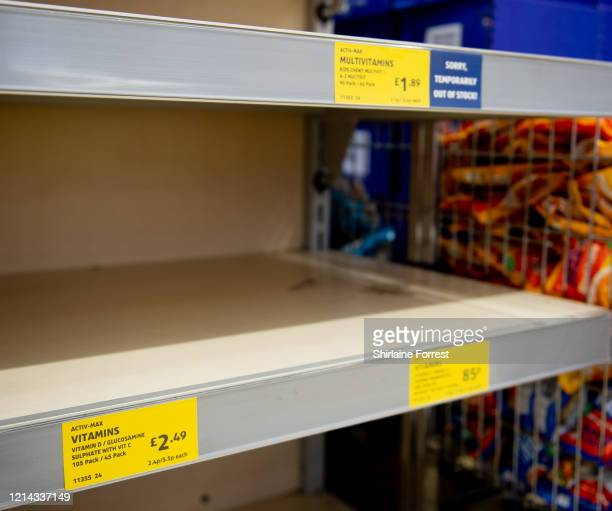Vitamins are sold out in Aldi on March 23 2020 in Altrincham England Coronavirus pandemic has spread to at least 182 countries claiming over 10000...