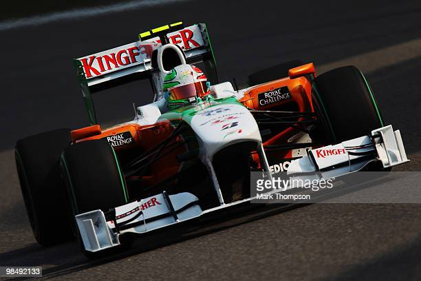 Vitantonio Liuzzi of Italy and Force India drives during practice for the Chinese Formula One Grand Prix at the Shanghai International Circuit on...