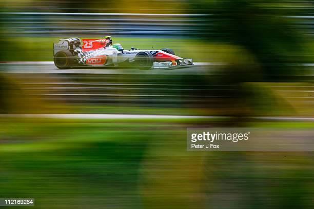 Vitantonio Liuzzi Of Italy and HRT during the Malaysian Formula One Grand Prix at the Sepang Circuit on April 9 2011 in Kuala Lumpur Malaysia