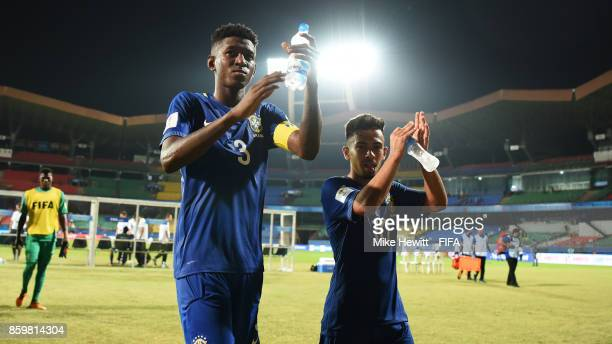 Vitao and Alan of Brazil acknowledge the crowd at the end of the FIFA U17 World Cup India 2017 group D match between Korea DPR and Brazil at the...