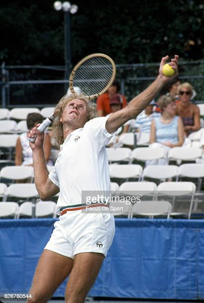 Vitas Gerulaitis of the United States serves during the Men's 1976 US Open Tennis Championships circa 1976 at the West Side Tennis Club in the Queens...