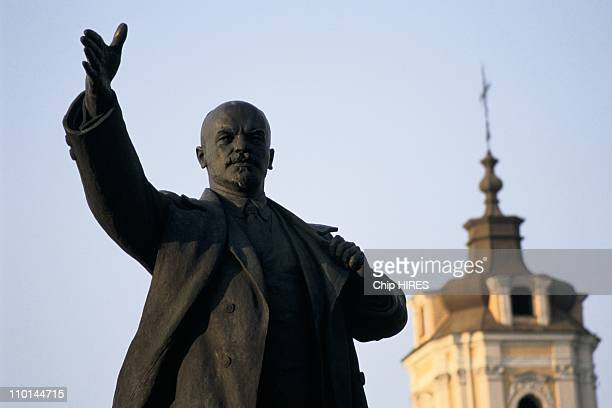 Vitautas Landsbergis President Statue of Lenin in Vilnius Lithuania on April 14 1990