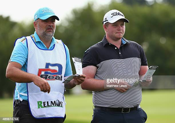 Vitek Novak of the Czech Republic looks on with his caddie during day three of the DD Real Czech Masters at Albatross Golf Resort on August 29 2015...
