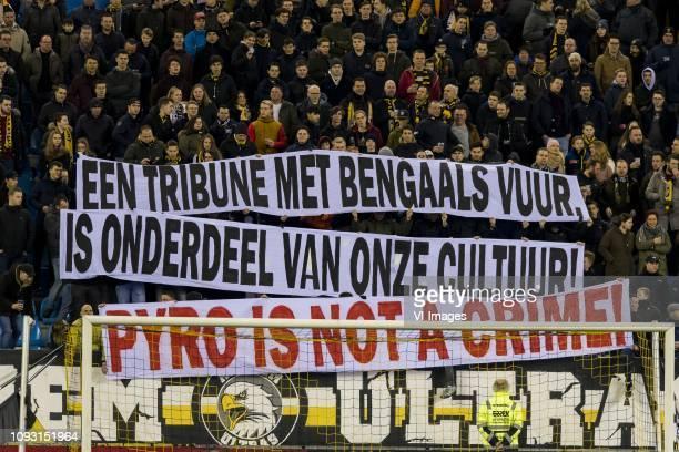 Vitesse supporters with an Banner Een tribune met bengaals vuur is onderdeel van ons cultuur PYRO IS NOT A CRIME during the Dutch Eredivisie match...