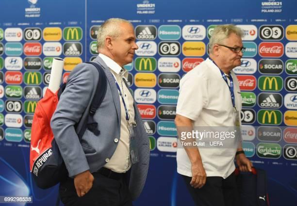Vitezslav Lavicka coach of Czech Republic arrives at the stadium prior to the UEFA European Under21 Championship Group C match between Czech Republic...