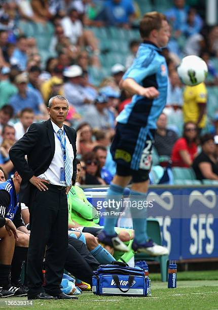 Vitezslav Lavicka manager of Sydney FC looks on during the round 14 ALeague match between Sydney FC and the Central Coast Mariners at the Sydney...