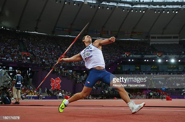 Vitezslav Vesely of Czech Republic competes during the Men's Javelin Throw Final on Day 15 of the London 2012 Olympic Games at Olympic Stadium on...