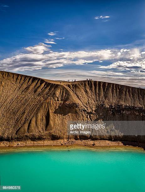 viti crater, northern iceland - volcanic crater stock photos and pictures