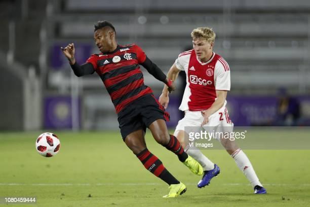 Vitinho of Clube de Regatas do Flamengo Rasmus Kristensen of Ajax during the Florida Cup 2019 match between Ajax Amsterdam v Clube de Regatas do...