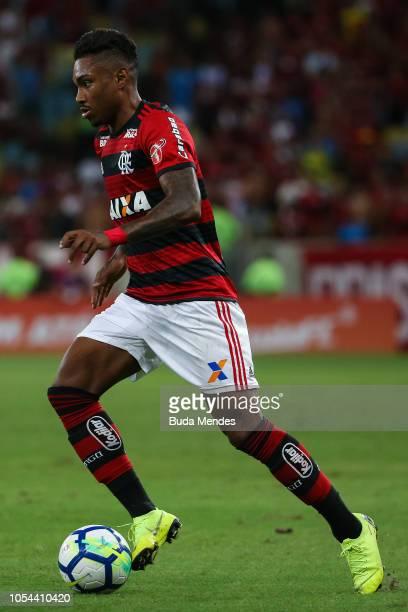 Vitinho of Flamengo controls the ball during a match between Flamengo and Palmeiras as part of Brasileirao Series A 2018 at Maracana Stadium on...