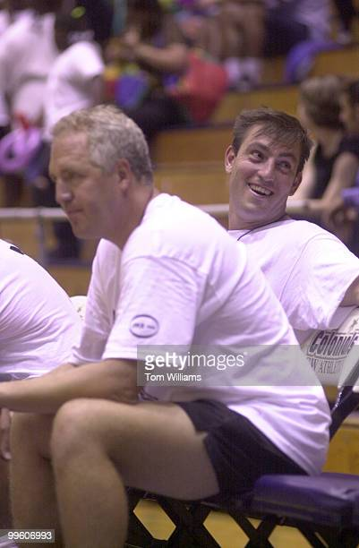 Vito Fossella and John Shimkus hang out on the bench during the 2nd Annual Congress Vs Lobbyists Charity Basketball Game The Congressmen beat the...