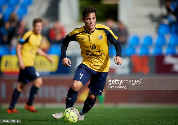 Vito HammershojMistrati of Hobro IK in action during the Danish Superliga match between Hobro IK and FC Nordsjalland at DS Arena on October 7 2018 in...