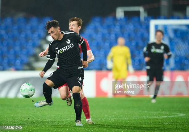 Vito Hammershoj-Mistrati of Randers FC controls the ball during the UEFA Conference League match between Randers FC and AZ Alkmaar at Cepheus Park on...