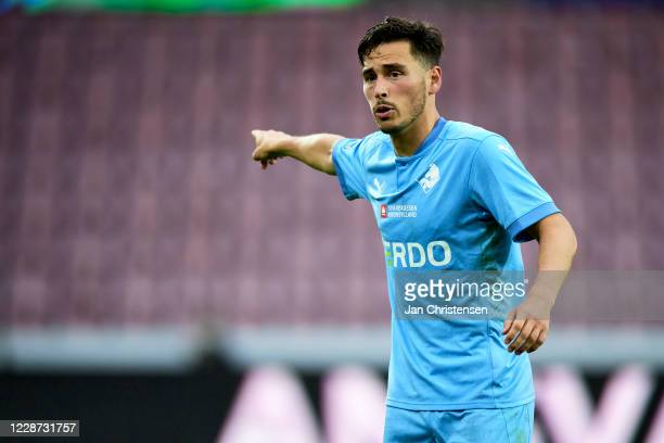 Vito Hammershoj-Mistrati of Randers FC gives instructions during the Danish 3F Superliga match between FC Midtjylland and Randers FC at MCH Arena on...