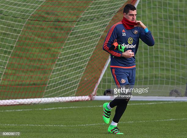 Vito Mannone during a Sunderland AFC Training Session at The Academy of Light on January 21 2016 in Sunderland England