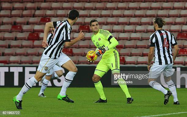 Vito Mannone of Sunderland claims the ball during the Checkatrade Trophy group stage match between Sunderland and Notts County at Stadium of Light on...