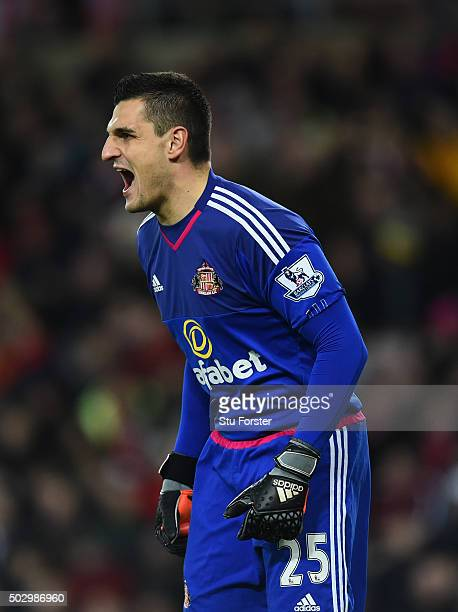 Vito Mannone of Sunderland in action during the Barclays Premier League match between Sunderland and Liverpoool at Stadium of Light on December 30...