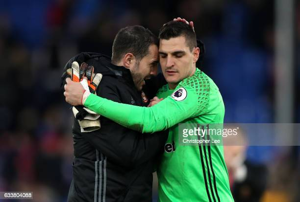 Vito Mannone of Sunderland is congratulated after the Premier League match between Crystal Palace and Sunderland at Selhurst Park on February 4 2017...