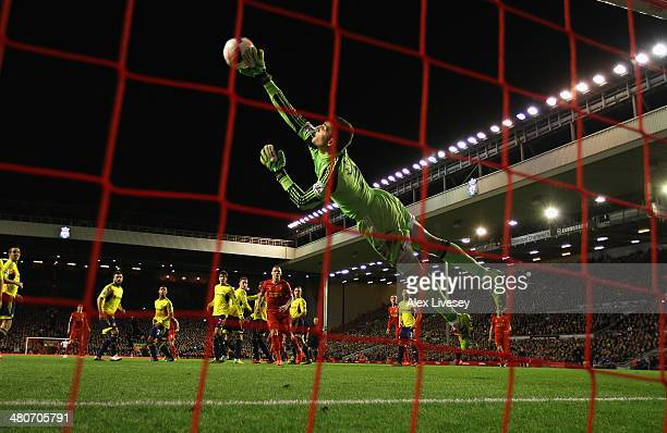Vito Mannone of Sunderland is unable to stop Steven Gerrard of Liverpool scoring the first goal from a freekick during the Barclays Premier League...