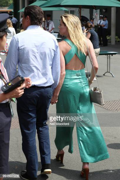 Vito Schnabel and Amber Heard seen arriving at Wimbledon Day 7 on July 9 2018 in London England