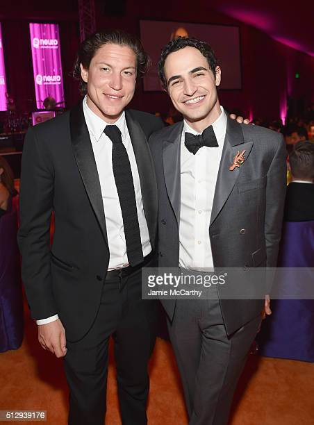 Vito Schnabel and fashion designer Zac Posen attend the 24th Annual Elton John AIDS Foundation's Oscar Viewing Party at The City of West Hollywood...