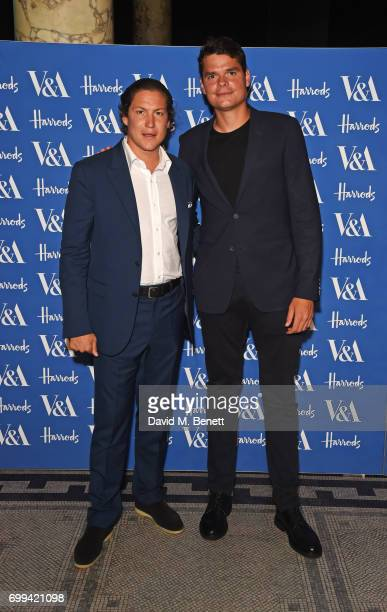Vito Schnabel and Milos Raonic attend the 2017 annual VA Summer Party in partnership with Harrods at the Victoria and Albert Museum on June 21 2017...
