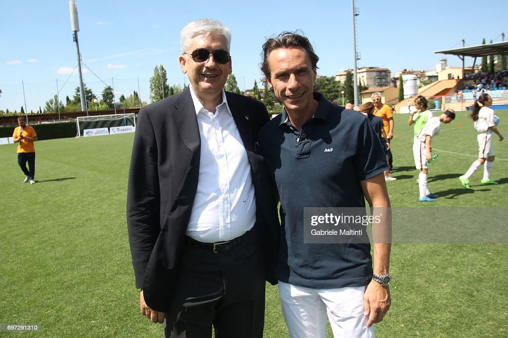 Vito Tisci, president of the youth sector of the FIGC and the school and Enrico Chiesa during 9th Grassroots Festival at Coverciano on June 18, 2017 in Florence, Italy.