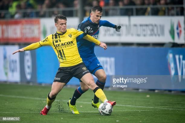 Vito van Crooij of VVV Mats Seuntjens of AZ during the Dutch Eredivisie match between VVV Venlo and AZ Alkmaar at Seacon stadium De Koel on December...