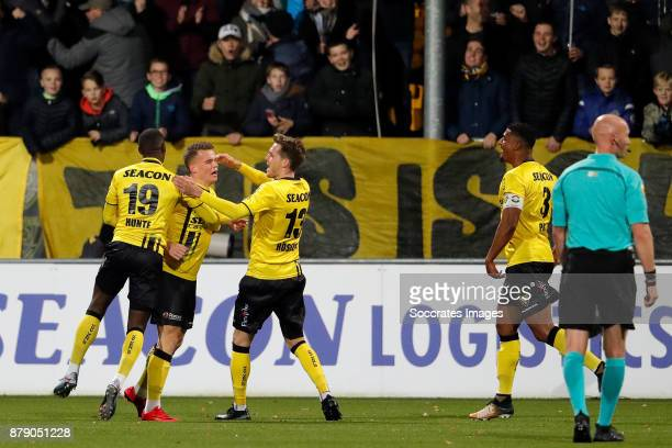 Vito van Crooij of VVV Venlo celebrates 10 with Torino Hunte of VVV Venlo Nils Roseler of VVV Venlo Jerold Promes of VVV Venlo during the Dutch...