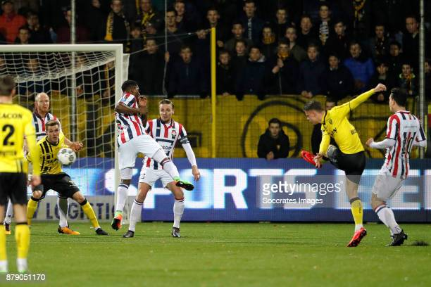 Vito van Crooij of VVV Venlo scores his sideÕs first goal to make it 10 during the Dutch Eredivisie match between VVVvVenlo Willem II at the Seacon...