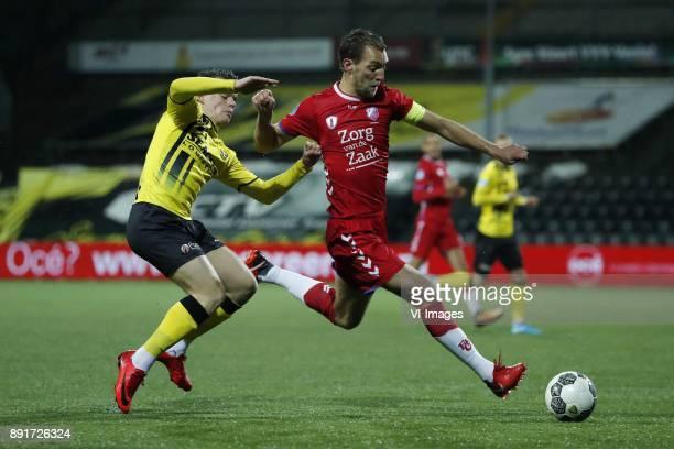 Vito van Crooij of VVV Venlo Willem Janssen of FC Utrecht during the Dutch Eredivisie match between VVV Venlo and FC Utrecht at Seacon stadium De...