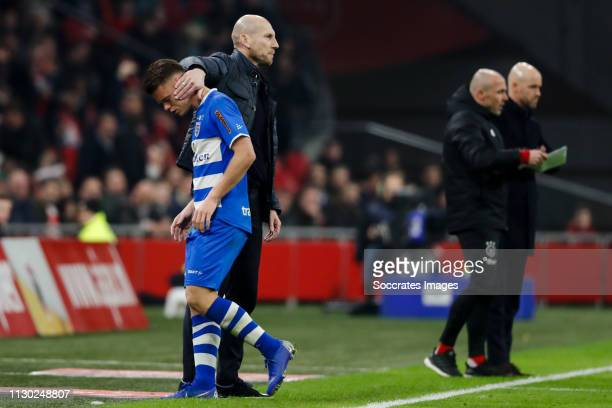 Vito van Crooy of PEC Zwolle is leaving the pitch after receiving a red card coach Jaap Stam of PEC Zwolle during the Dutch Eredivisie match between...
