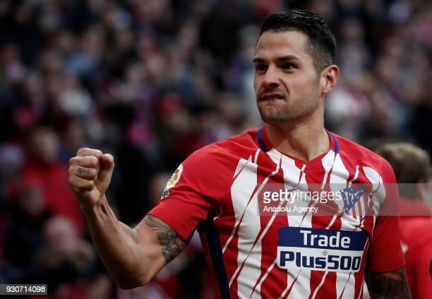 Vitolo of Atletico Madrid celebrates after scoring a goal during the La Liga soccer match between Atletico Madrid and Celta Vigo at Wanda...