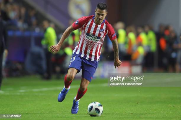Vitolo of Atletico runs with the ball during the UEFA Super Cup between Real Madrid and Atletico Madrid at Lillekula Stadium on August 15 2018 in...