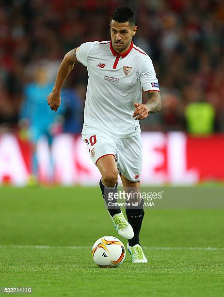 Vitolo of Sevilla during the UEFA Europa League Final match between Liverpool and Sevilla at St JakobPark on May 18 2016 in Basel Switzerland