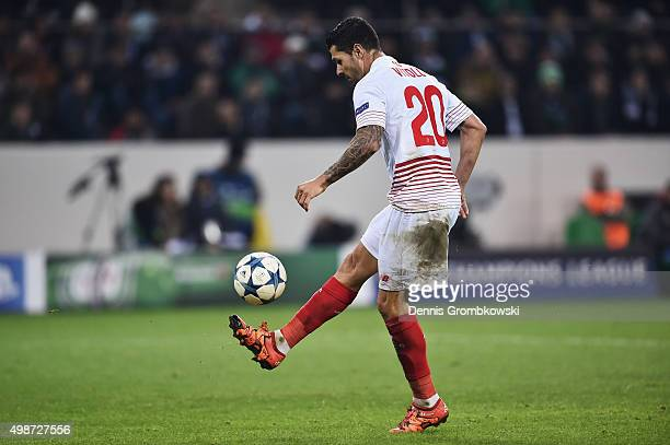 Vitolo of Sevilla scores their first goal during the UEFA Champions League Group D match between Borussia Moenchengladbach and Sevilla at...