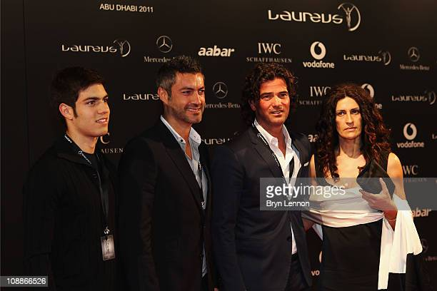 Vitor Baia and Fernando Couto arrive for the Laureus Welcome Party as part of the 2011 Laureus World Sports Awards at Cipriani Yas Island on February...