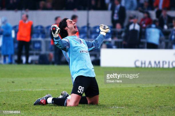 Vitor Baia of Porto celebrates during the UEFA Champions League final between AC Monaco and Porto at the Arena AufSchalke on May 26 2004 in...