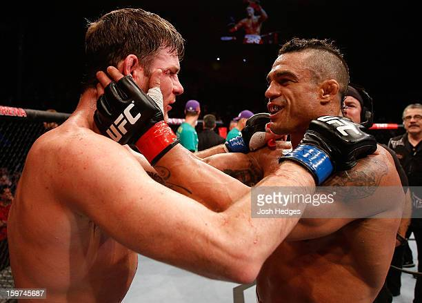 Vitor Belfort and Michael Bisping talk after Belfort knocked out Bisping in their middleweight fight at the UFC on FX event on January 19, 2013 at...