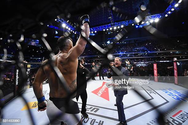 Vitor Belfort of Brazil is introduced by UFC Octagon announcer Bruce Buffer before facing Ronaldo 'Jacare' Souza of Brazil in their middleweight bout...