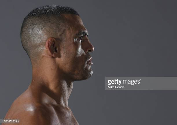 Vitor Belfort of Brazil poses for a portrait backstage after his victory over Nate Marquardt during the UFC 212 event at Jeunesse Arena on June 3...