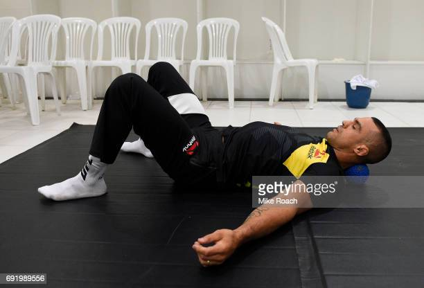 Vitor Belfort of Brazil warms up in his locker room prior to his bout against Nate Marquardt during the UFC 212 event at Jeunesse Arena on June 3...