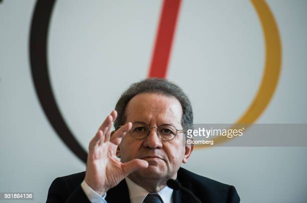 Vitor Constancio vice president of the European Central Bank gestures while speaking at the 'ECB and its Watchers' conference in Frankfurt Germany on...