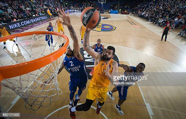 Vitor Faverani #13 of FC Barcelona Lassa in action during the 2016/2017 Turkish Airlines EuroLeague Regular Season Round 18 game between FC Barcelona...
